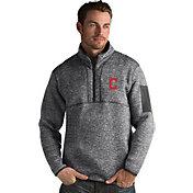 Antigua Men's Cleveland Indians Grey Fortune Half-Zip Pullover