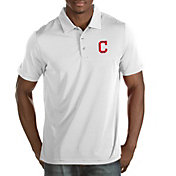 Antigua Men's Cleveland Indians White Quest Performance Polo