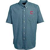 Antigua Men's Cleveland Indians Scholar Plaid Button-Up Shirt