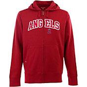 Antigua Men's Los Angeles Angels Red Split Applique Full-Zip Hoodie