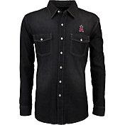 Antigua Men's Los Angeles Angels Chambray Button-Up Black Long Sleeve Shirt