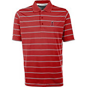 Antigua Men's Los Angeles Angels Deluxe Red Striped Performance Polo