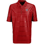 Antigua Men's Washington Nationals Illusion Red Striped Performance Polo