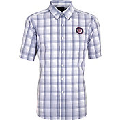 Antigua Men's Washington Nationals Alumni Navy Plaid Button-Up Shirt