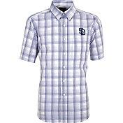 Antigua Men's San Diego Padres Alumni Navy Plaid Button-Up Shirt