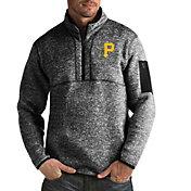 Antigua Men's Pittsburgh Pirates Black Fortune Half-Zip Pullover