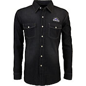 Antigua Men's Colorado Rockies Chambray Button-Up Black Long Sleeve Shirt