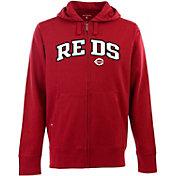 Antigua Men's Cincinnati Reds Red Split Applique Full-Zip Hoodie