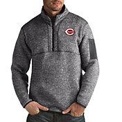 Antigua Men's Cincinnati Reds Grey Fortune Half-Zip Pullover