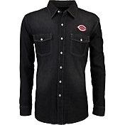 Antigua Men's Cincinnati Reds Chambray Button-Up Black Long Sleeve Shirt
