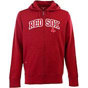 Antigua Men's Boston Red Sox Red Split Applique Full-Zip Hoodie