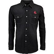 Antigua Men's Boston Red Sox Chambray Button-Up Black Long Sleeve Shirt