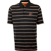 Antigua Men's Baltimore Orioles Deluxe Black Striped Performance Polo