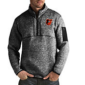 Antigua Men's Baltimore Orioles Black Fortune Half-Zip Pullover