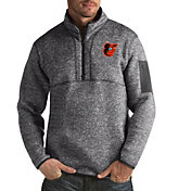 Antigua Men's Baltimore Orioles Grey Fortune Half-Zip Pullover