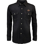 Antigua Men's Baltimore Orioles Chambray Button-Up Black Long Sleeve Shirt