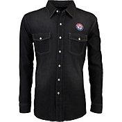 Antigua Men's Texas Rangers Chambray Button-Up Black Long Sleeve Shirt