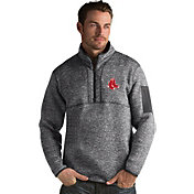 Antigua Men's Boston Red Sox Grey Fortune Half-Zip Pullover
