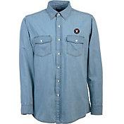 Antigua Men's Houston Astros Chambray Button-Up Long Sleeve Shirt