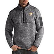 Antigua Men's Houston Astros Grey Fortune Half-Zip Pullover