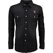 Antigua Men's Houston Astros Chambray Button-Up Black Long Sleeve Shirt