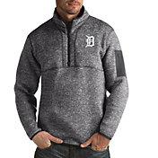 Antigua Men's Detroit Tigers Grey Fortune Half-Zip Pullover