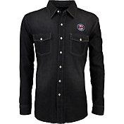 Antigua Men's Minnesota Twins Chambray Button-Up Black Long Sleeve Shirt