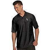 Antigua Men's Chicago White Sox Illusion Black Striped Performance Polo