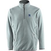Antigua Men's New York Yankees Quarter-Zip Silver Ice Pullover