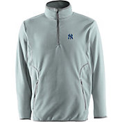 Antigua Men's New York Yankees Quarter-Zip Silver Ice Pullover