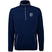 Antigua Men's Sporting Kansas City Ice Navy Quarter-Zip Fleece Jacket