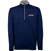 Antigua Men's UConn Huskies Blue Long Sleeve Leader Pullover Shirt