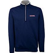 Antigua Men's UConn Huskies Blue Long Sleeve Leader Pullover Shirt