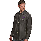Antigua Men's LSU Tigers Long Sleeve Button Up Chambray Shirt