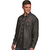 Antigua Men's Louisville Cardinals Long Sleeve Button Up Chambray Shirt