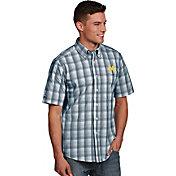Antigua Men's Michigan Wolverines Blue Plaid Short Sleeve Button Down Shirt
