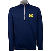 Antigua Men's Michigan Wolverines Blue Long Sleeve Leader Pullover Shirt