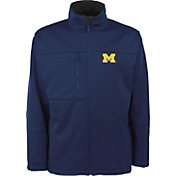 Antigua Men's Michigan Wolverines Blue Traverse Full-Zip Jacket