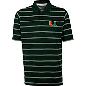 Antigua Men's Miami Hurricanes Green Deluxe Performance Polo