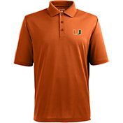 Antigua Men's Miami Hurricanes Orange Xtra-Lite Polo