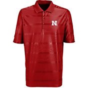 Antigua Men's Nebraska Cornhuskers Scarlet Illusion Performance Polo