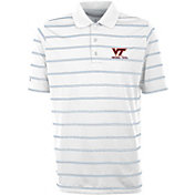 Antigua Men's Virginia Tech Hokies Deluxe Performance White Polo