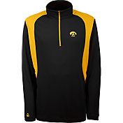 Antigua Men's Iowa Hawkeyes Delta Quarter-Zip Black Pullover