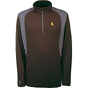 Antigua Men's Wyoming Cowboys Brown Delta Quarter-Zip Pullover