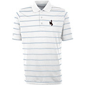 Antigua Men's Wyoming Cowboys Deluxe Performance White Polo