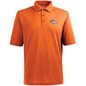 Antigua Men's Denver Broncos Pique Xtra-Lite Orange Polo