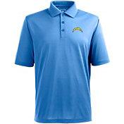 Antigua Men's San Diego Chargers Pique Xtra-Lite Blue Polo