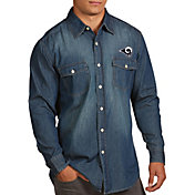 Antigua Men's Los Angeles Rams Chambray Button-Up Shirt