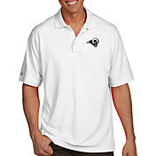 Antigua Men's Los Angeles Rams Pique Xtra-Lite White Polo