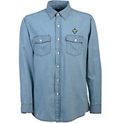 Antigua Men's New Orleans Saints Chambray Button-Up Shirt